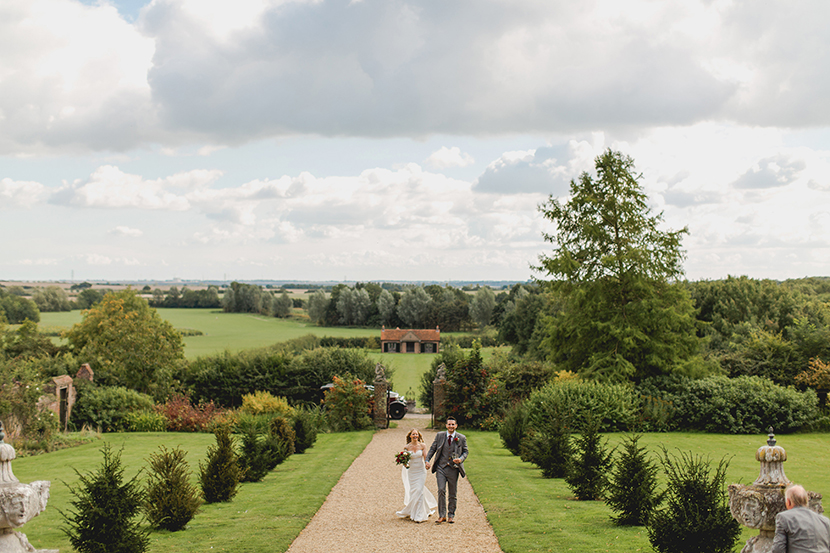 bride and groom at layer marney