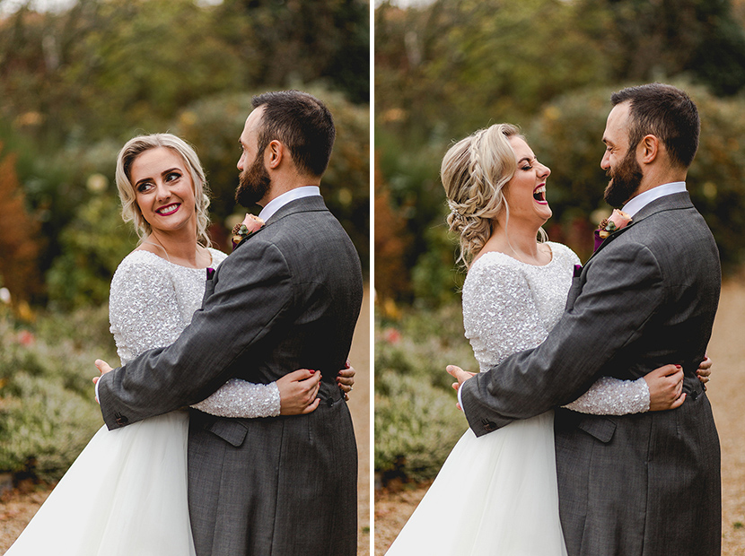 bride and groom laugh at eachother