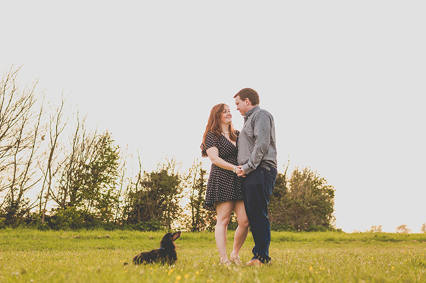 Engagement shoot with a dog