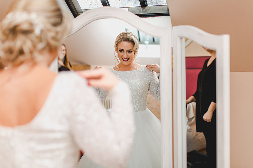 bride sees herself for the first time