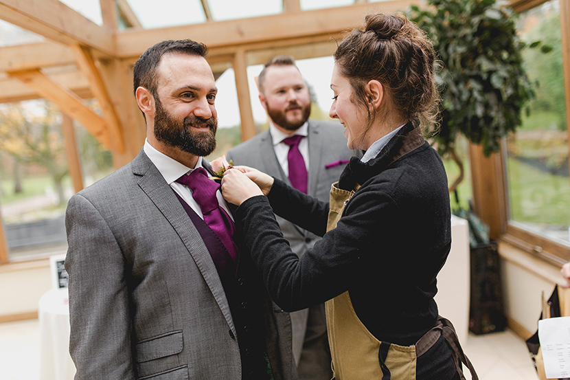 florist pins on buttonhole