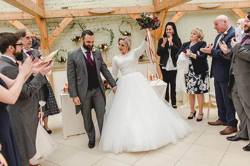 bride celebrates being married