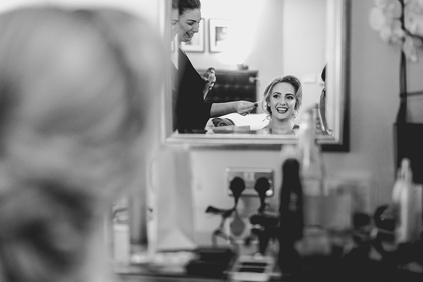 brides hair is styled