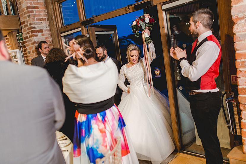 bride enters room