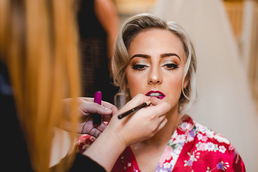 brides lipstick is applied