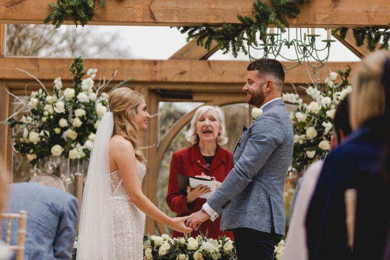 wedding ceremony at gaynes park