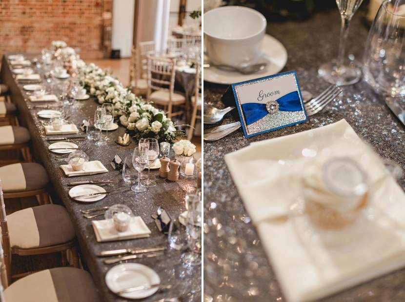 wedding table place settings in silver and blue