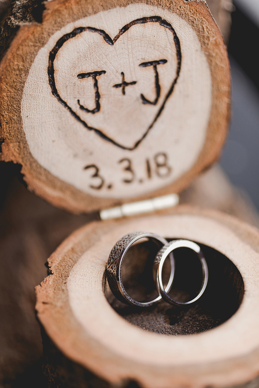 wedding rings in wooden box