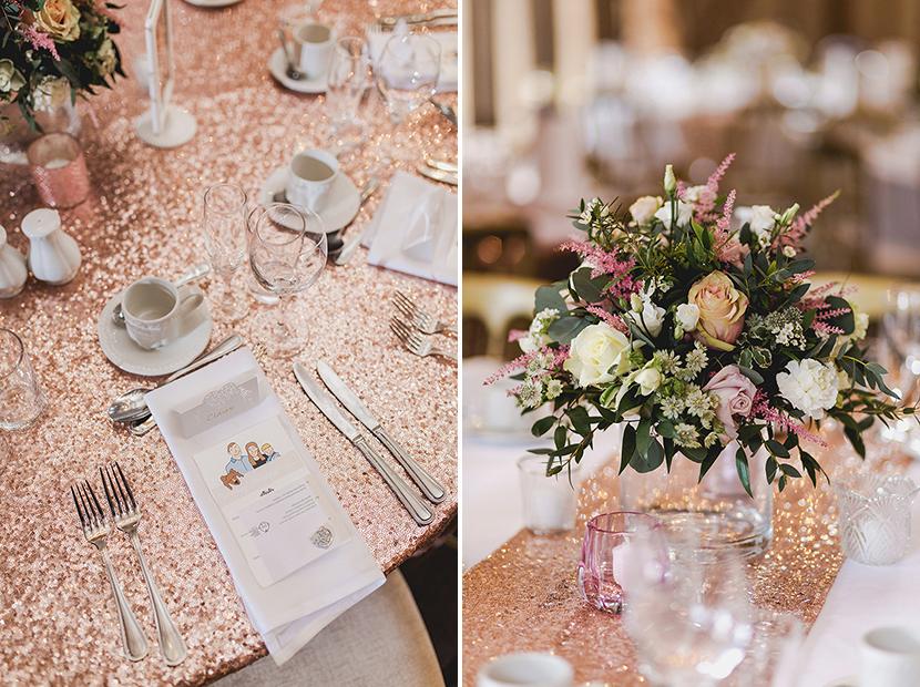 rose gold sequin wedding details