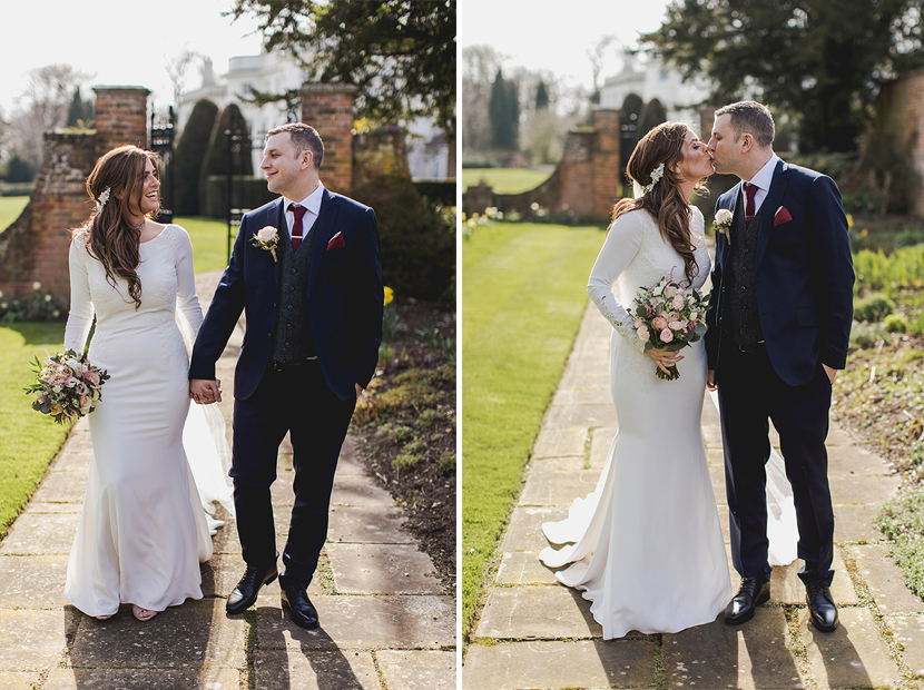 bride and groom on wedding day at Blake Hall