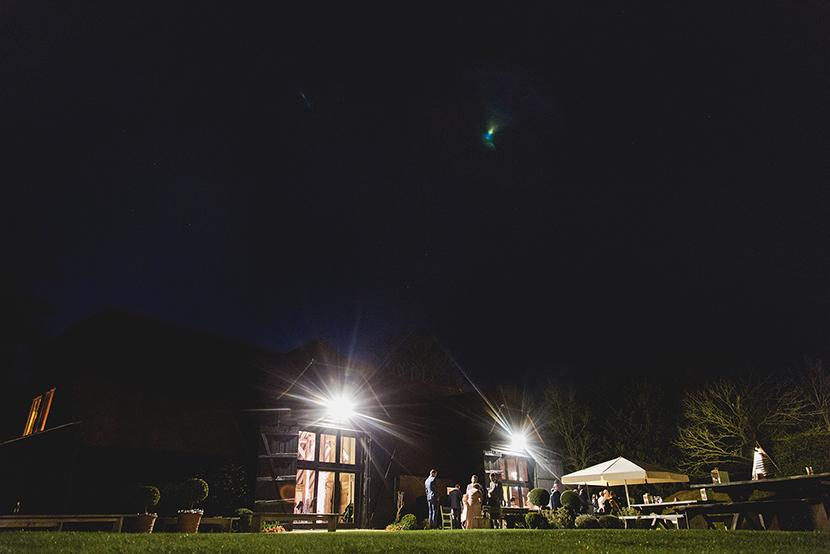 wedding day at Blake Hall at night