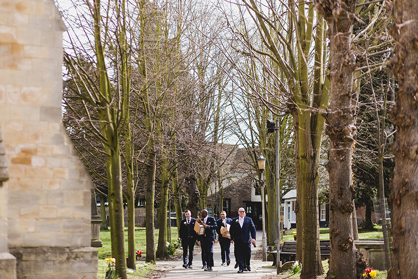 groomsmen arriving at waltham abbey