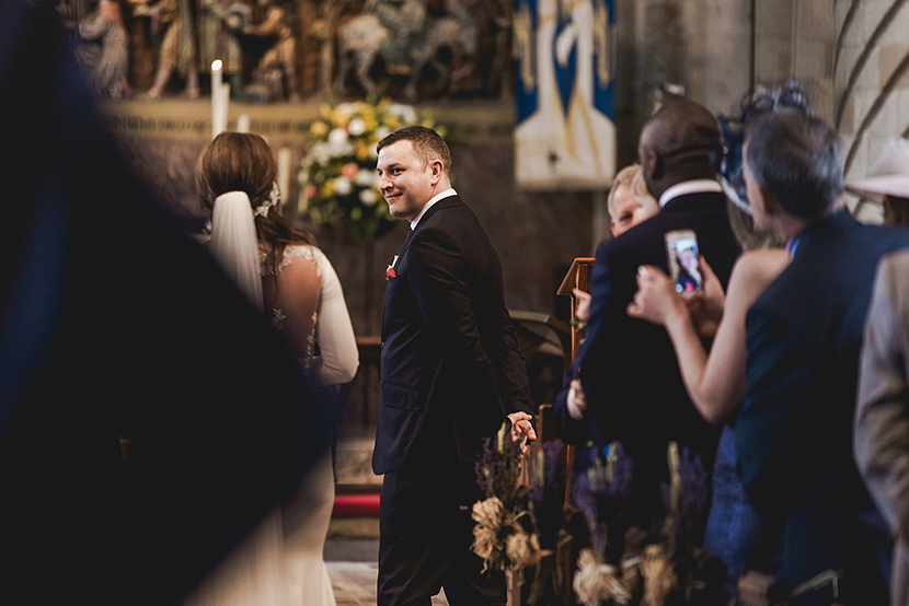 grooms first look at bride