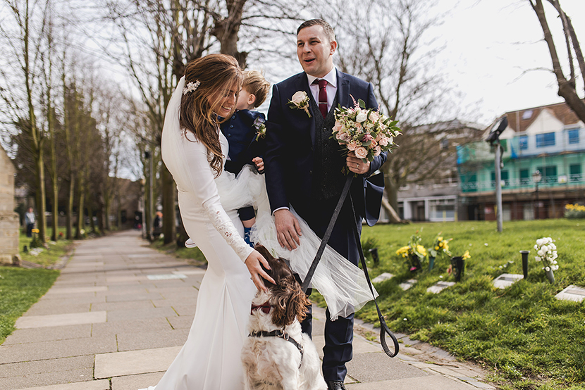 photo of bride and groom at altham abbey with dog