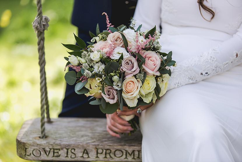 close up of brides bouquet