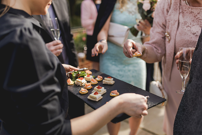 canapes being served at blake hall