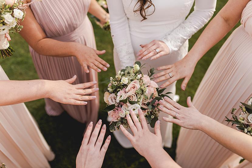 bride and bridesmaid wedding nails