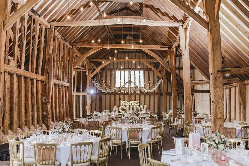 beautiful barn wedding set up at blake hall in essex