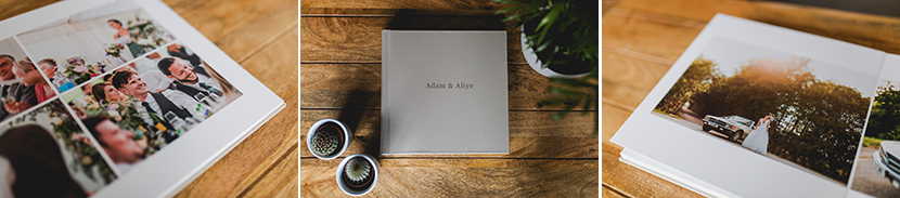 trio of photos of fine art wedding albums