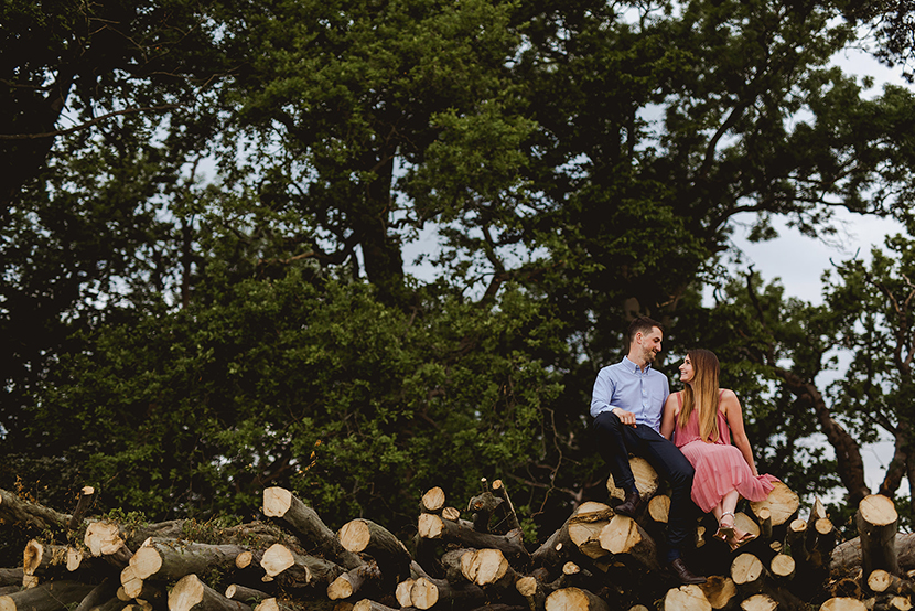 couple embracing at Engagement shoot in Chelmsford Essex