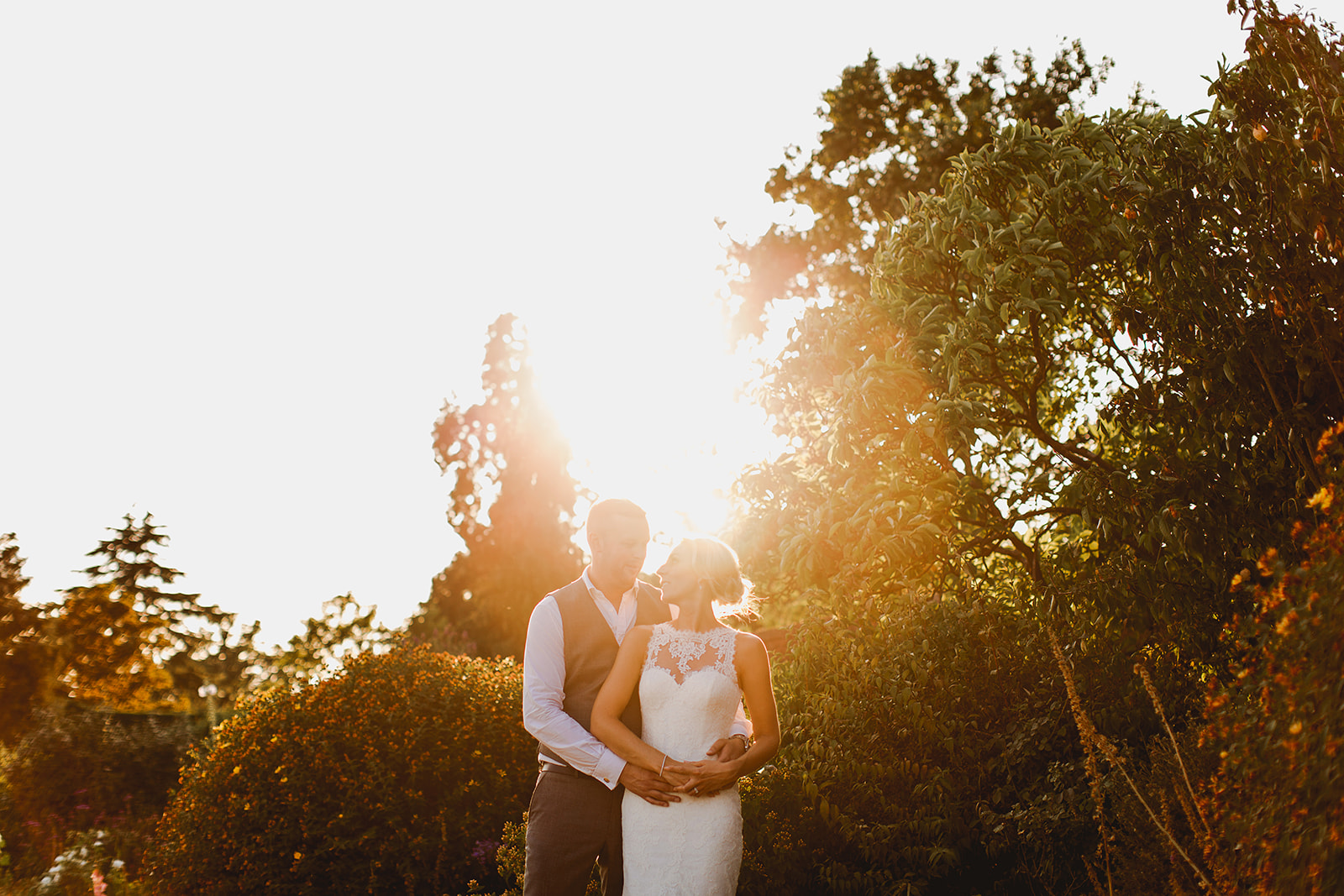 Bride and groom at Gaynes Park wedding details