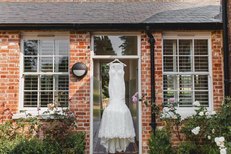 Bride and groom at Gaynes Park wedding details