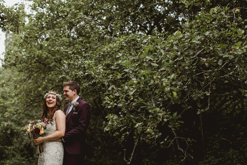 Kentfield country estate with smiling bride and groom