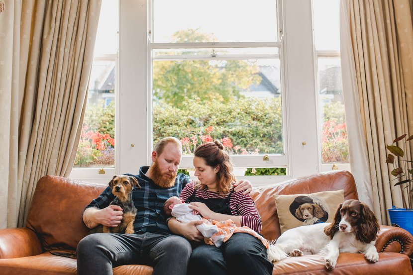 new parents with newborn and dogs