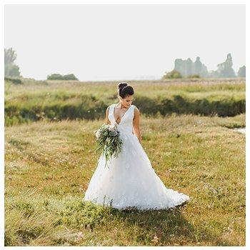 bride in lincolnshire fields