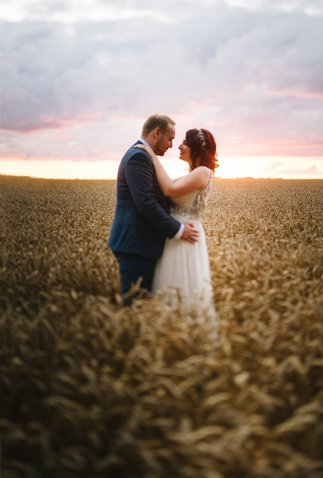 couple at sunset in cornfield