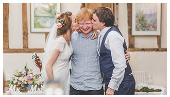 bride and groom kissing ed sheerans wedding